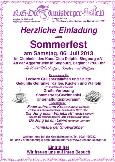 """kölsche fastelovend eck - sommerfest der kg """"die tönnisberger"""" im juli, Einladung"""
